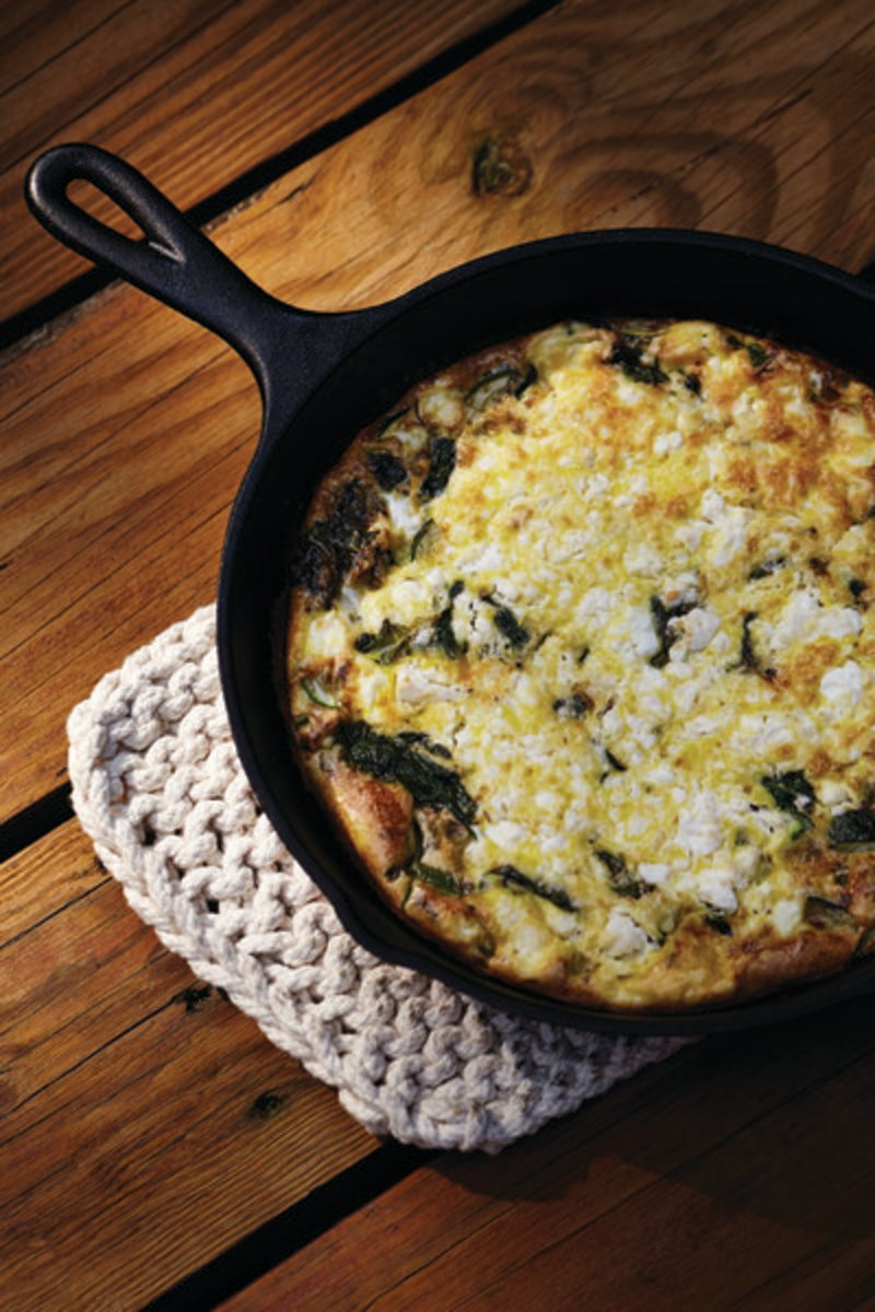 Green Frittata Recipe with Sheep Feta