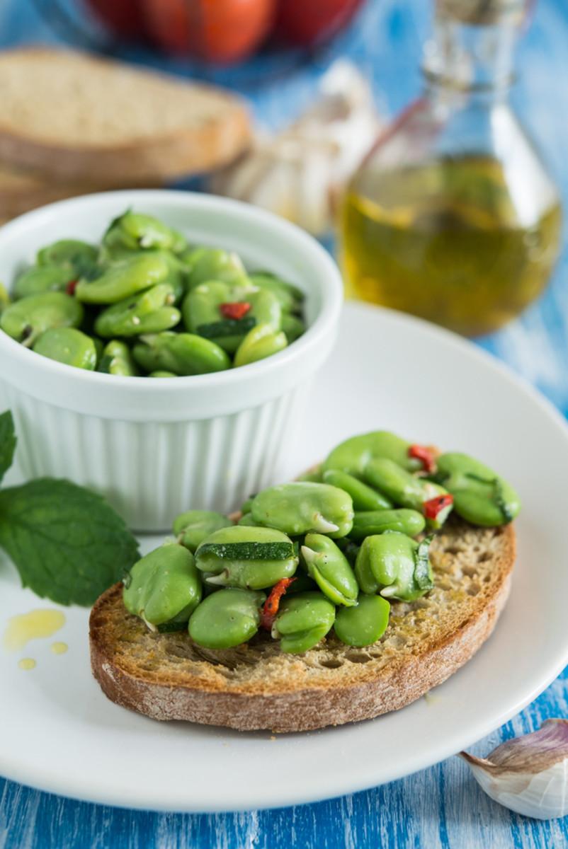 Fava Bean And Radish Bruschetta Recipe — Dishmaps