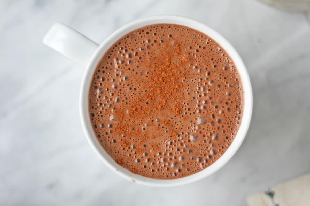 Vegan Superfood Hot Chocolate With Reishi, Maca, and Raw Cacao