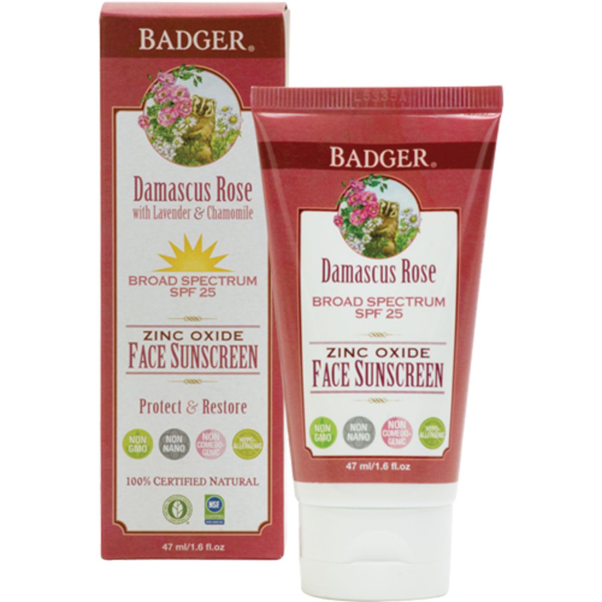 Badger Damascus Rose SPF 25 Face Sunscreen Lotion