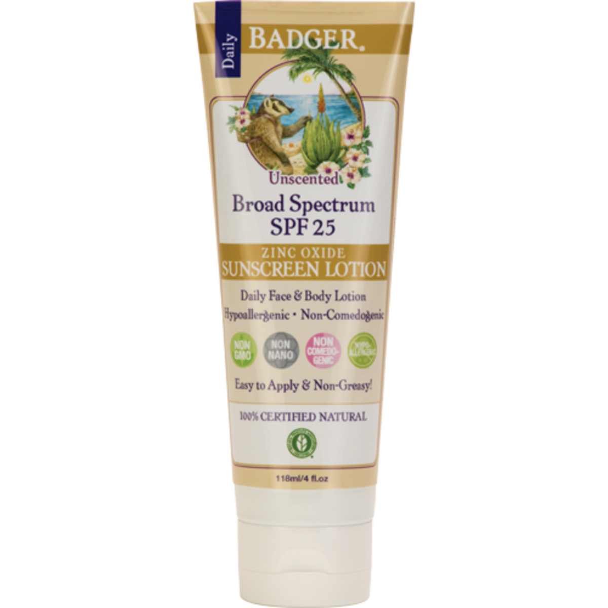Badger SPF 25 Sunscreen Lotion Unscented