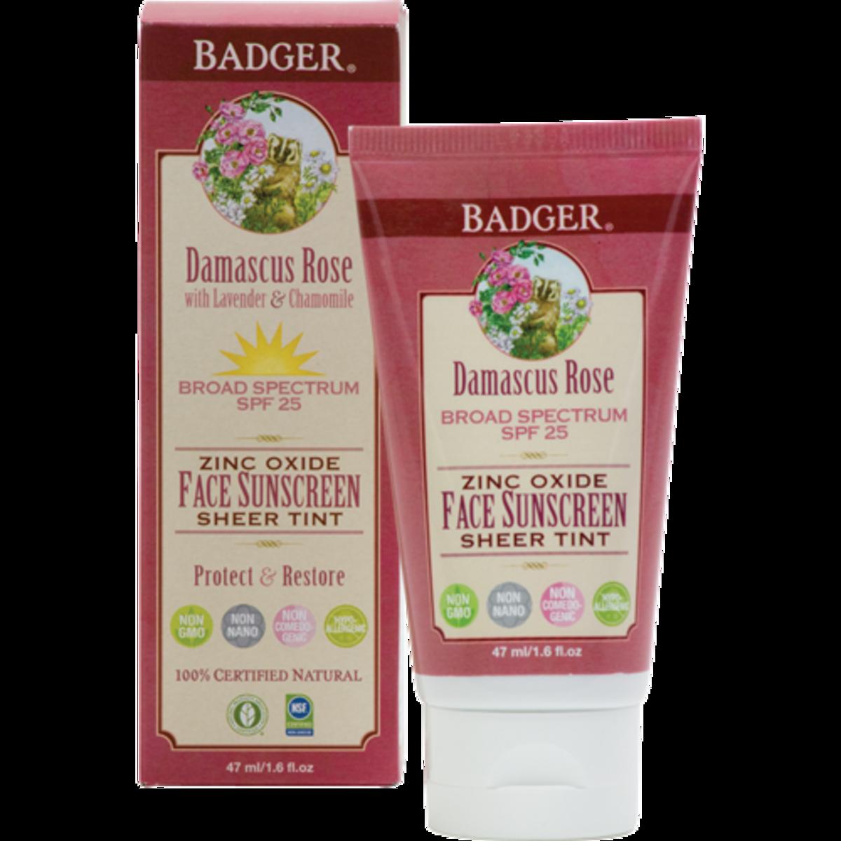 Badger Damascus Rose SPF 25 Sheer Tint Face Sunscreen Lotion