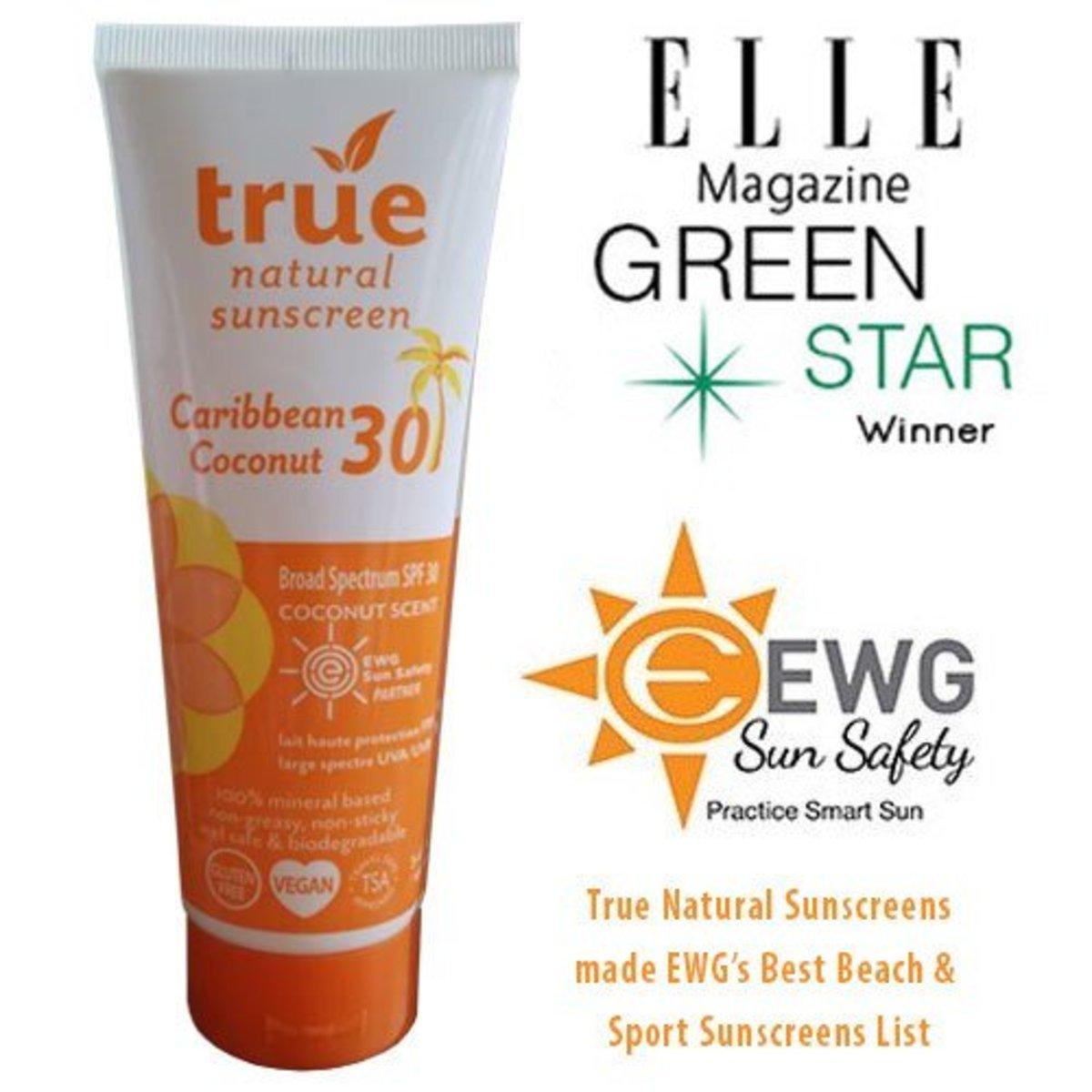 True Natural Caribbean Coconut SPF 30 Sunscreen, Broad Spectrum