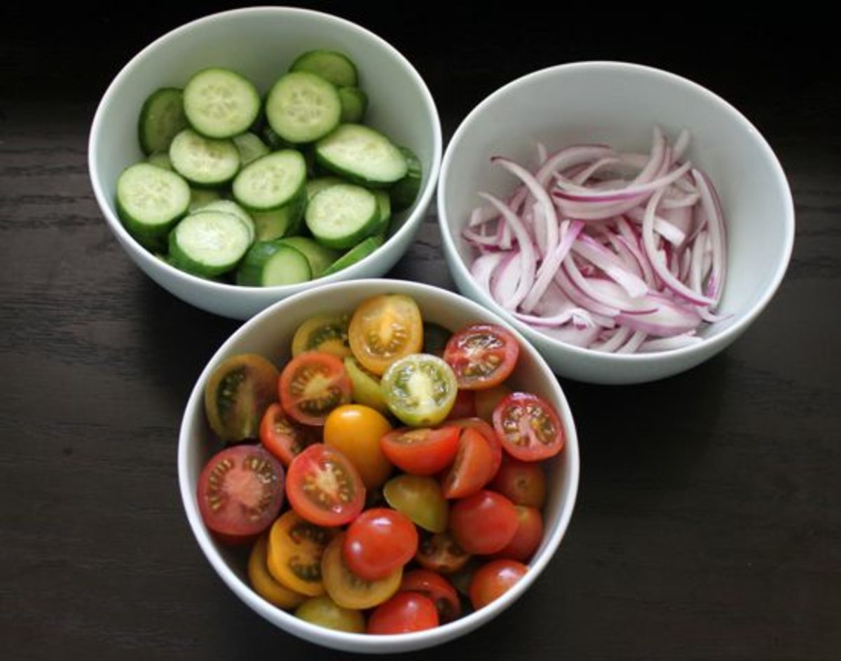 Cucumber, Tomato and Red Onion