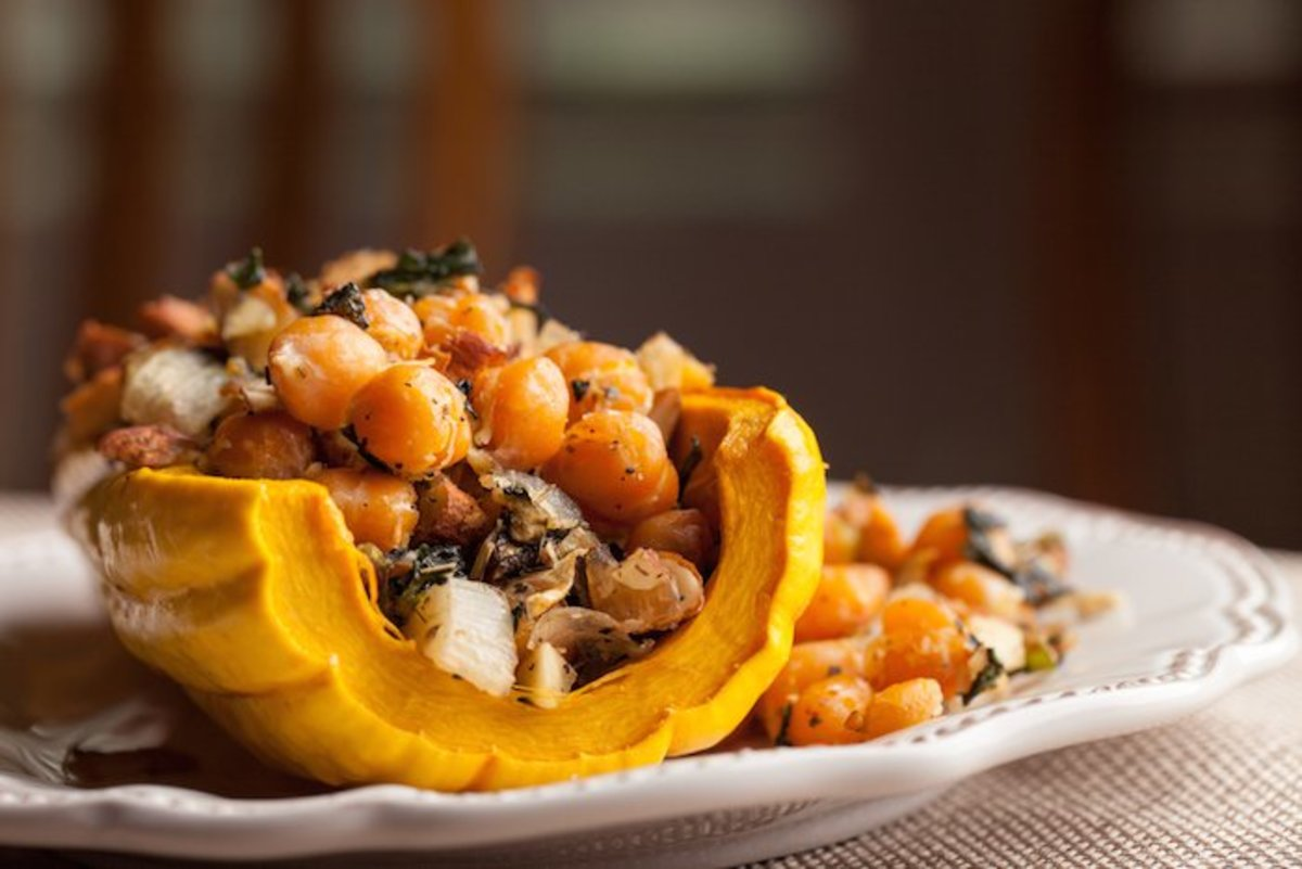 Winter Recipe: Roasted Stuffed Squash with Farro, Feta, and Kale
