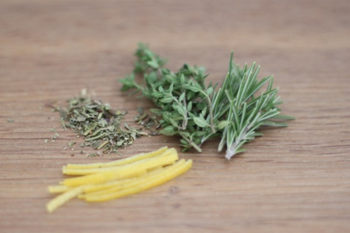 herbs and lemon