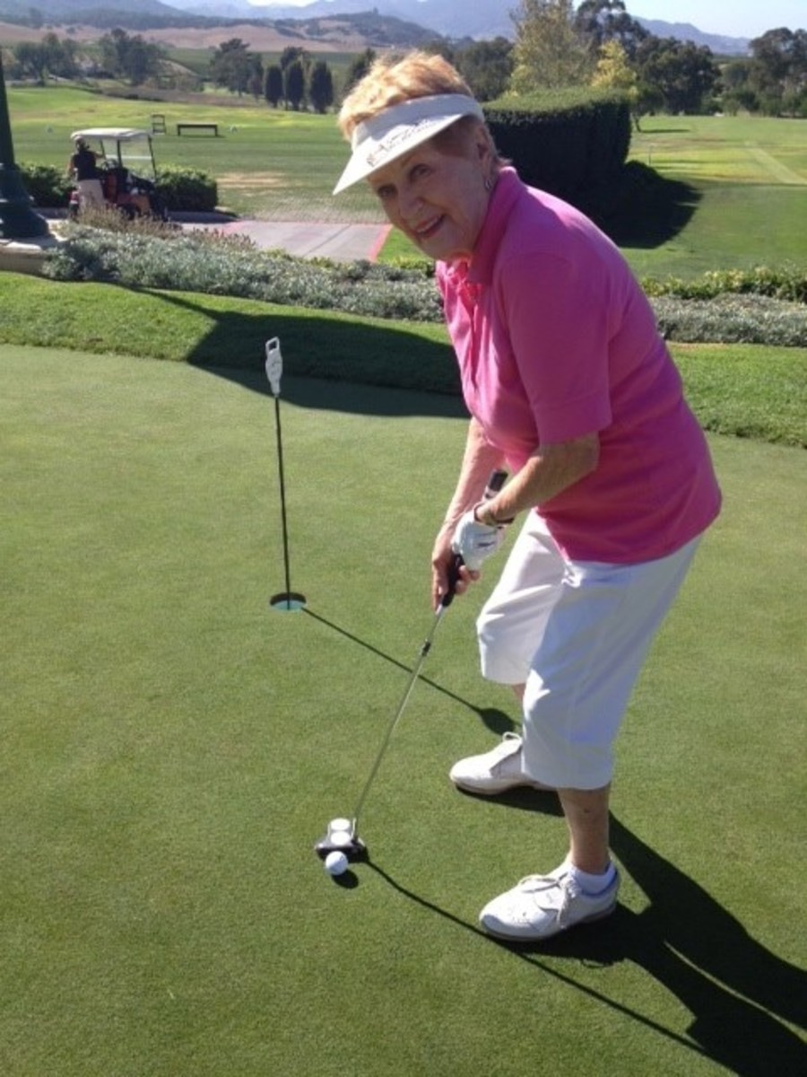 Elaine LaLanne playing golf.