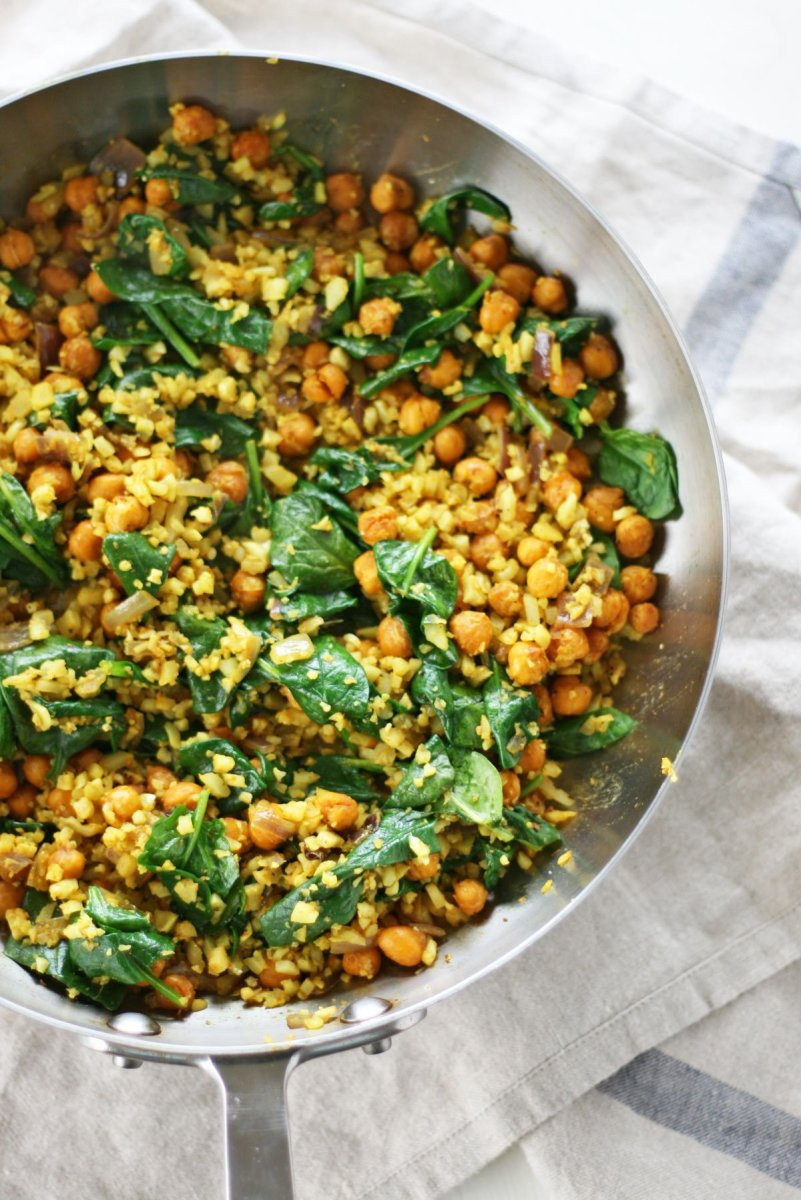 Vegan, Gluten-Free Curry Cauliflower Fried Rice with Roasted Chickpeas