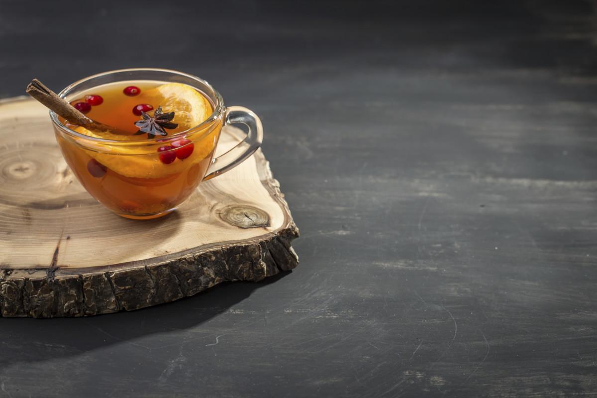 Hot tea with orange