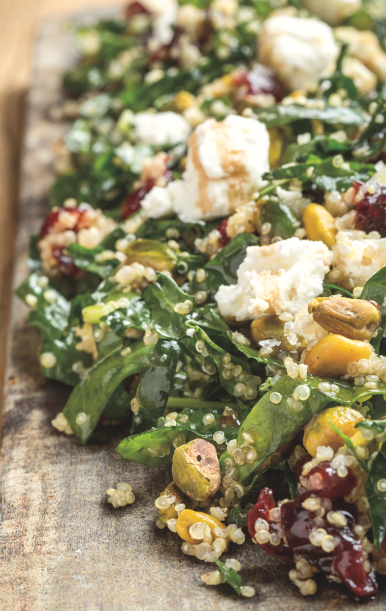 Millet and Lacinato Kale Salad Recipe with Dried Sour Cherries, Pistachios, and Chèvre