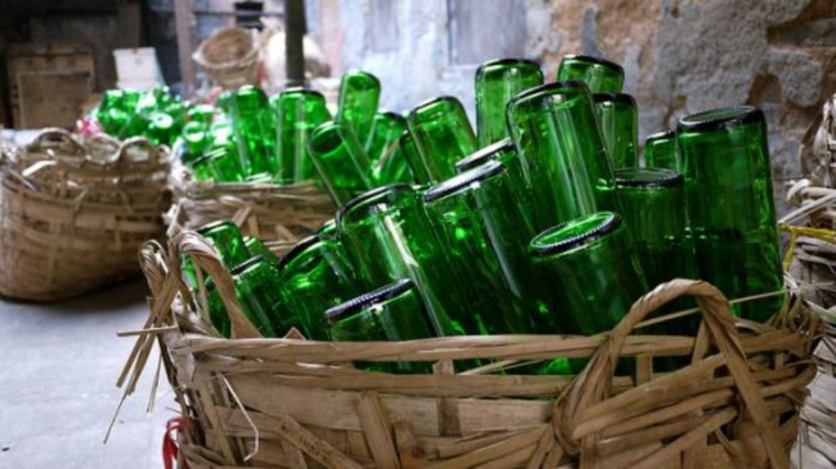 bottles in basket
