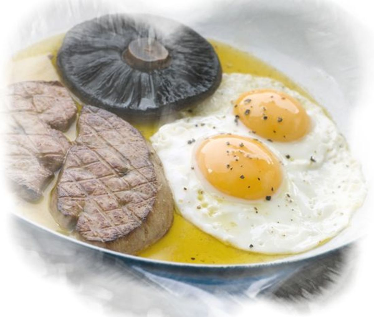 Eggs with portabella mushroom and foie gras