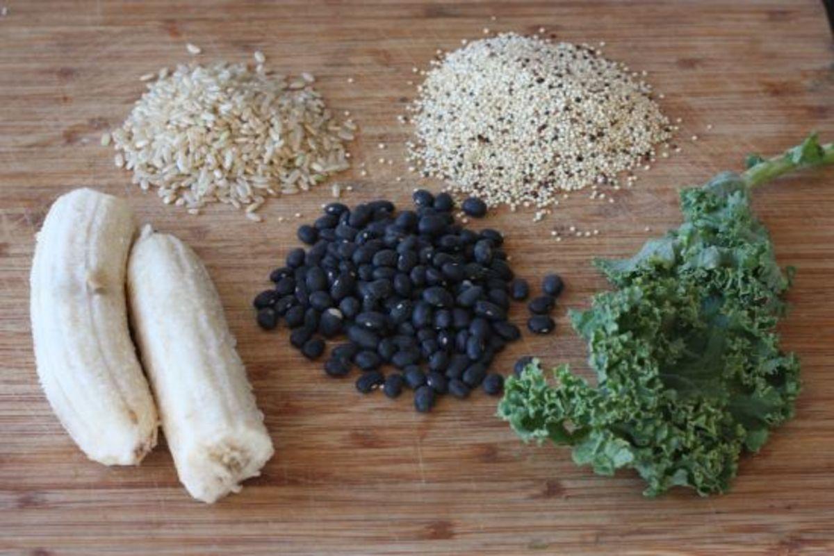 legumes-grains-bananas-kale-ecovegangal