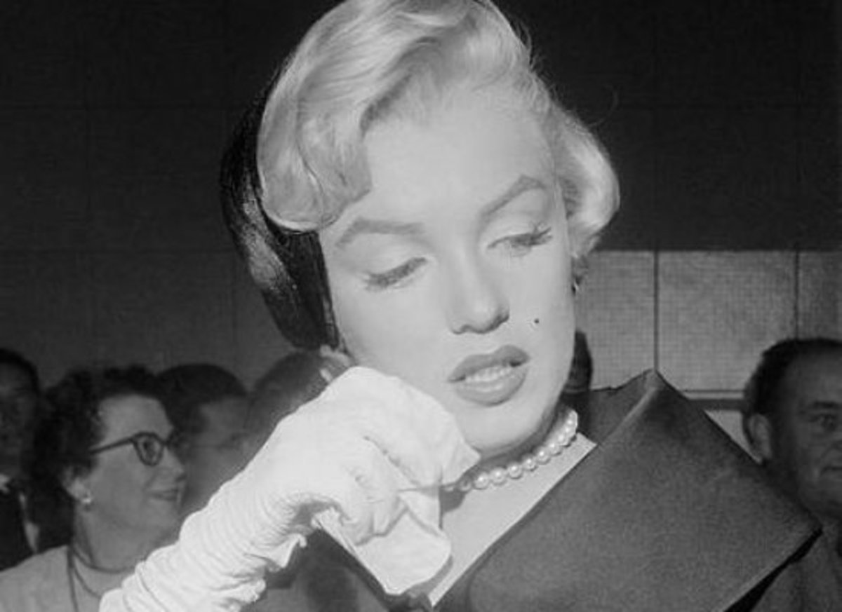 Marilyn Monroe with a handkerchief