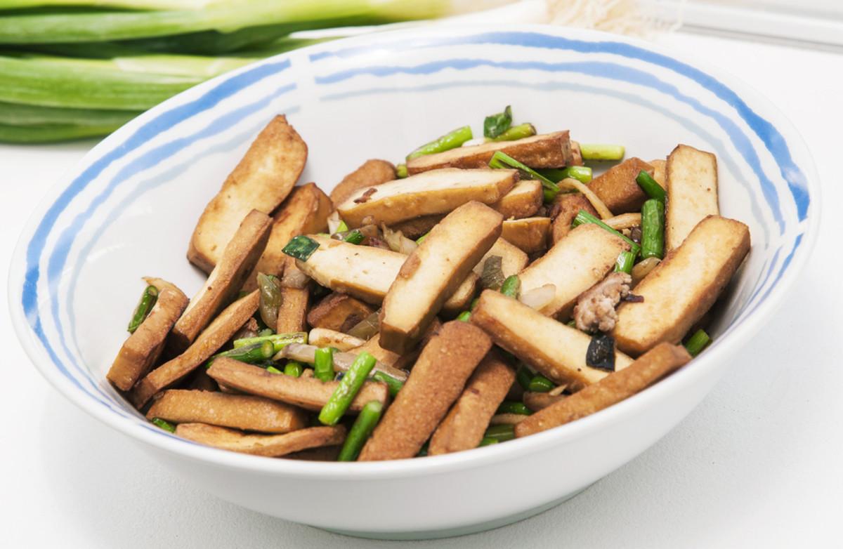 Healthy snacks, smoked tofu