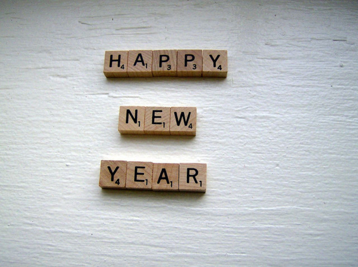 Blocks spelling happy new year