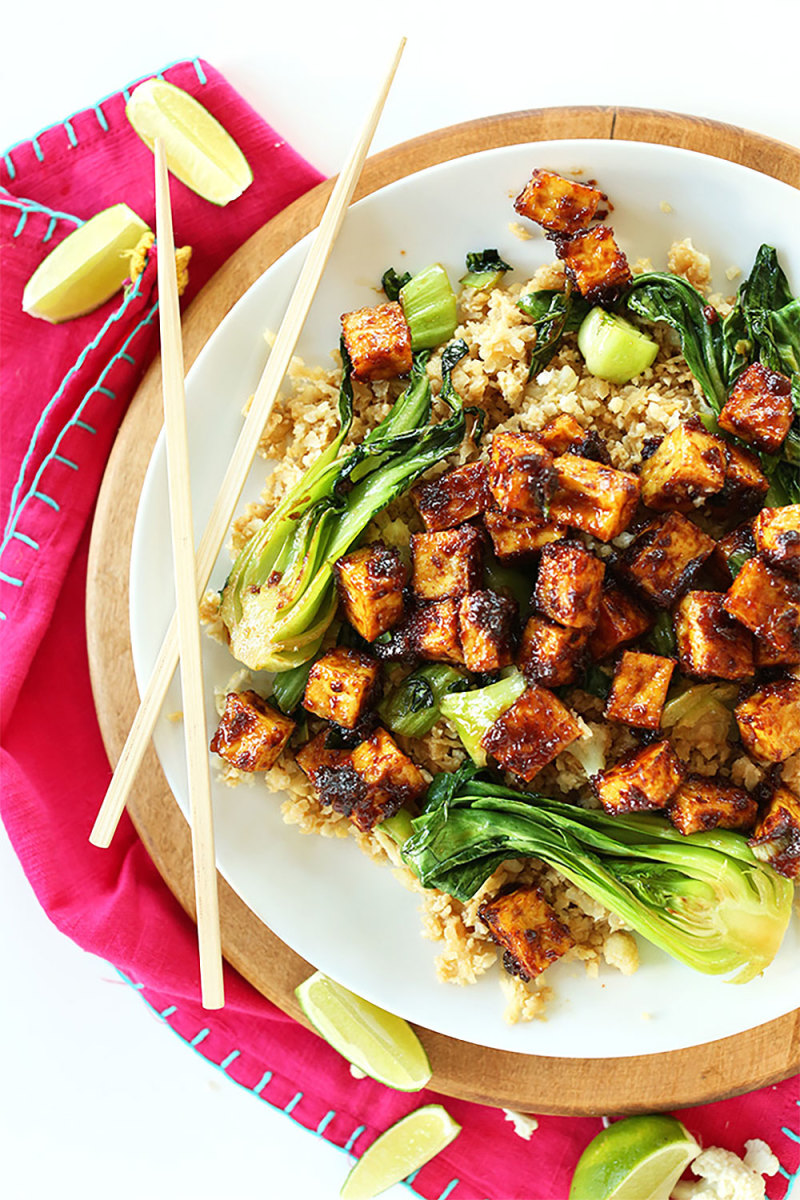 Crispy Peanut Tofu with Cauliflower Rice Recipe