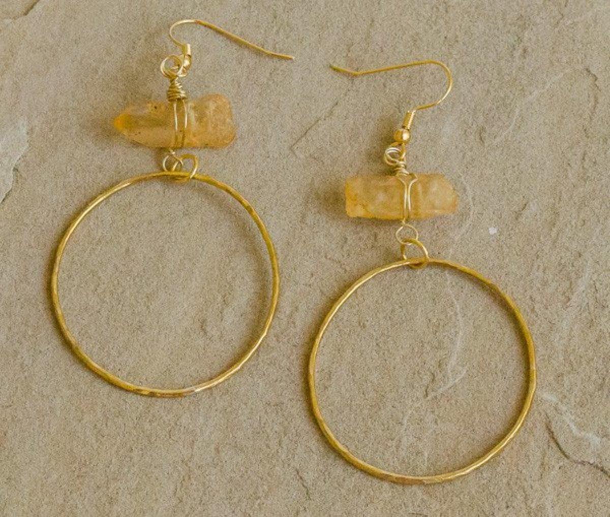 Destini - Recycled Brass Quartz Stick Hoops