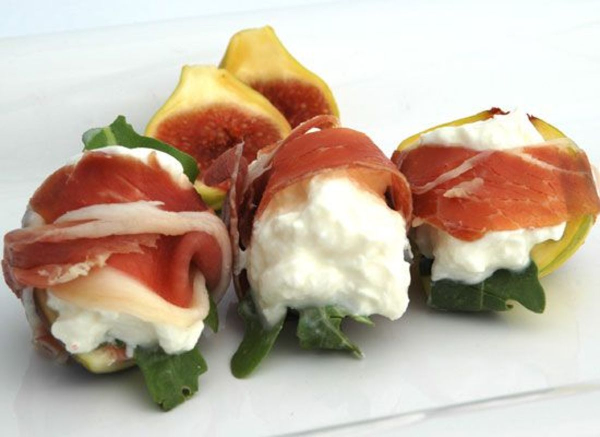 Stuffed Figs with Burrata, Arugula and Wrapped in Prosciutto