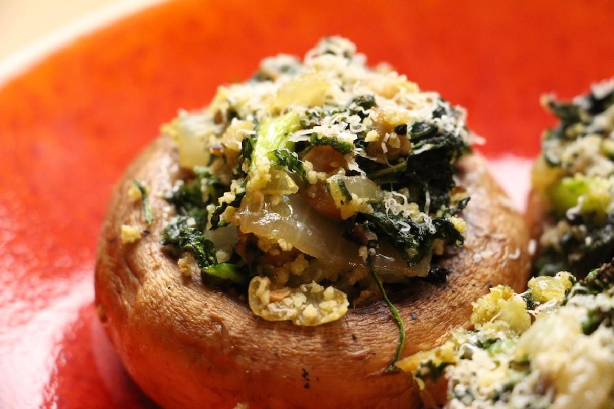 greens stuffed mushrooms