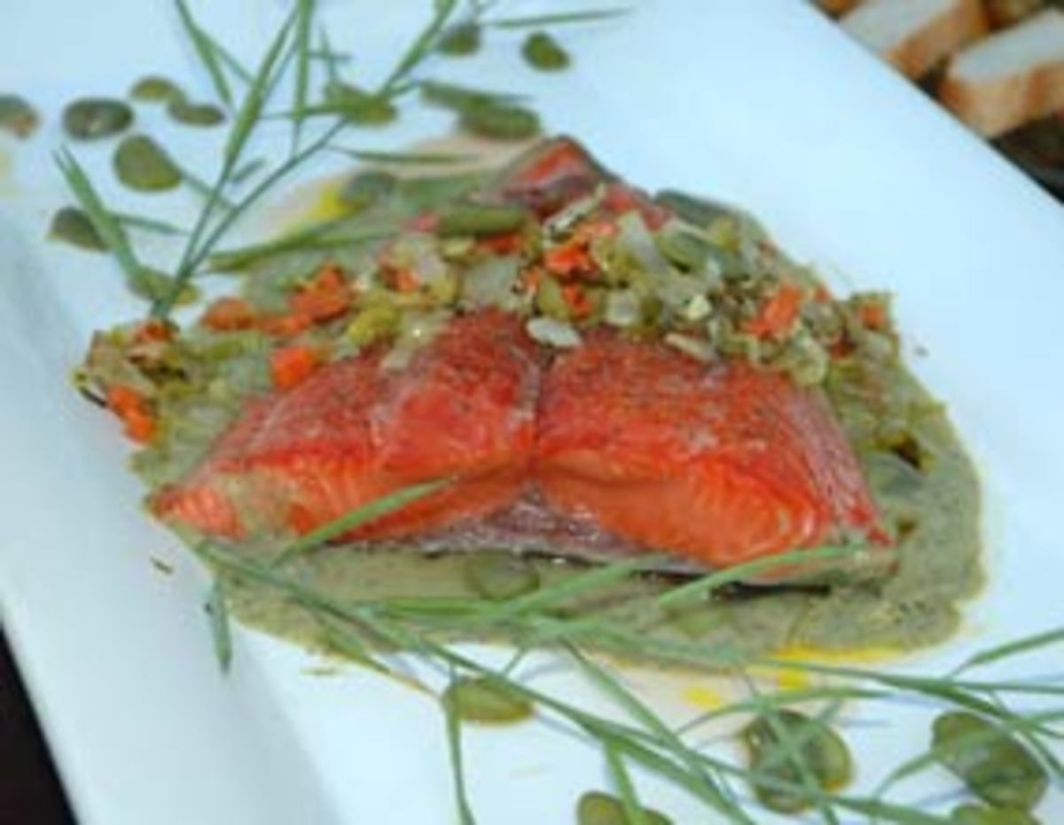 Copper river salmon with fresh organic fava bean sauce