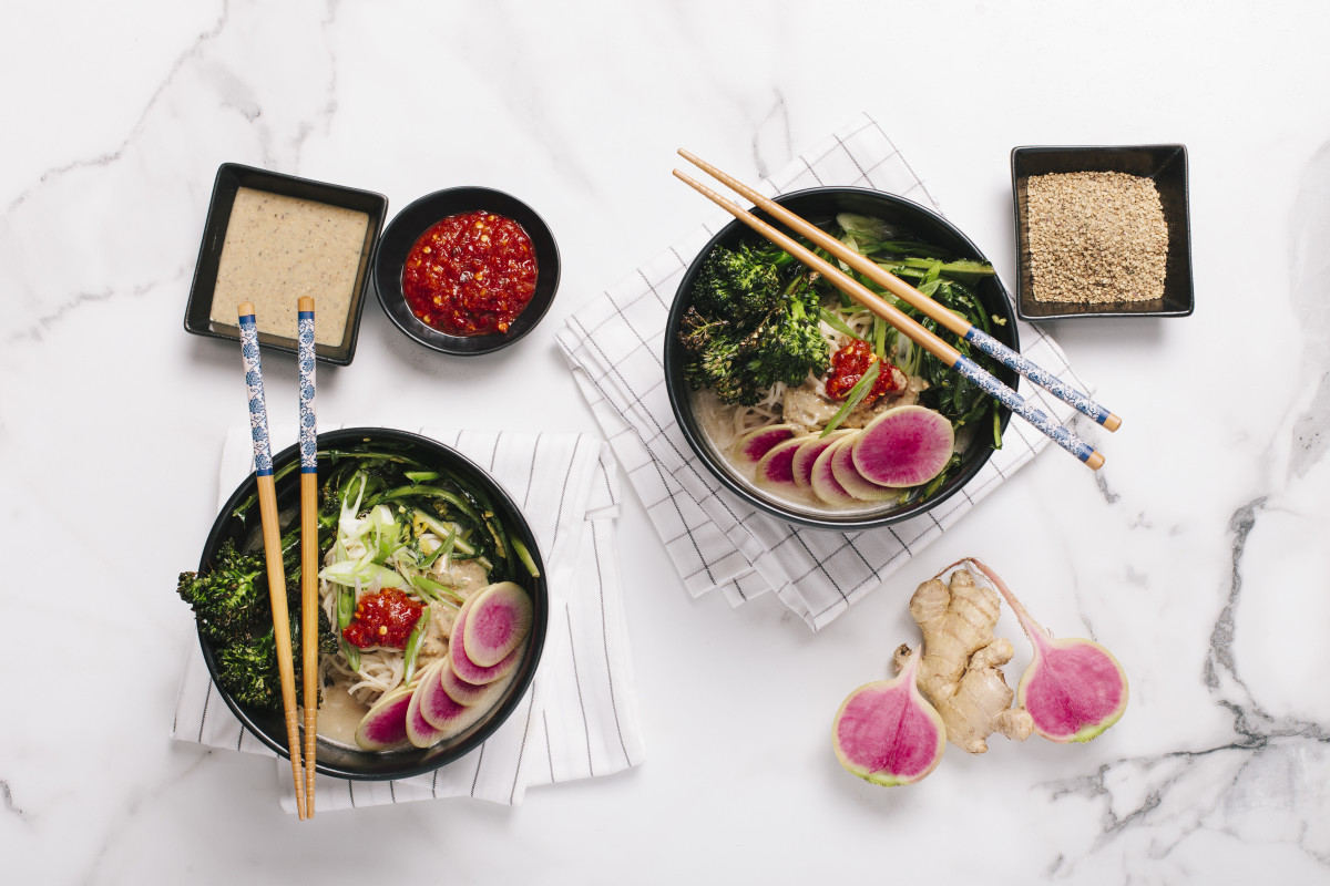 Ramen with Gingered Greens and Broccolini via Purple Carrot
