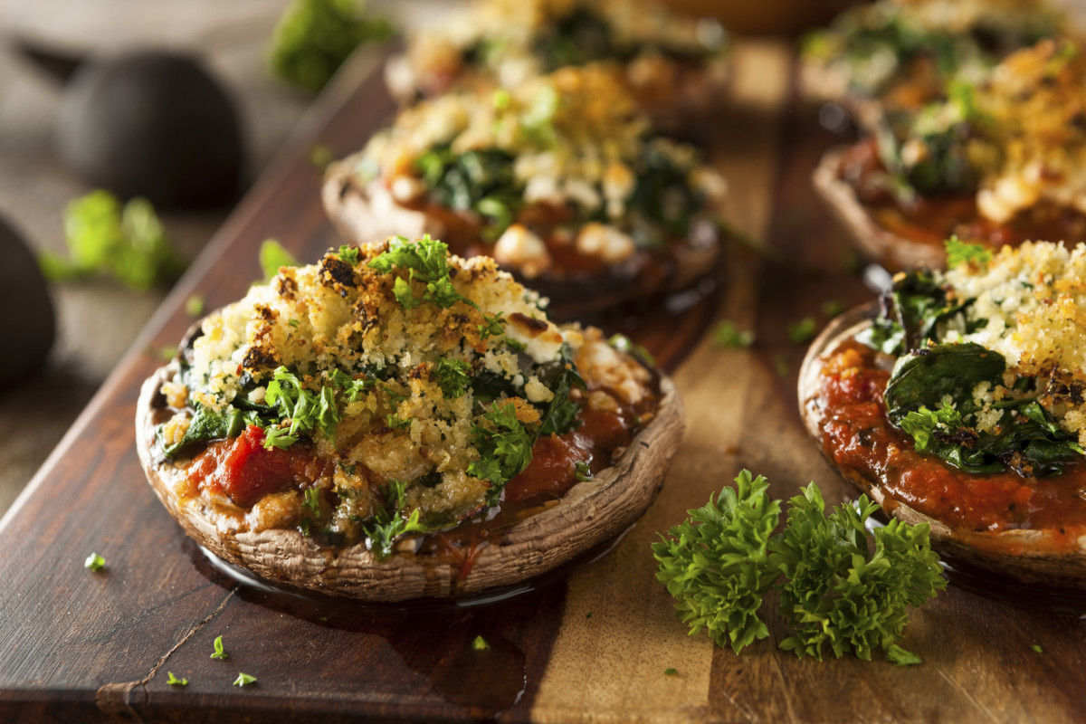 mushroom recipes - stuffed portobello mushrooms