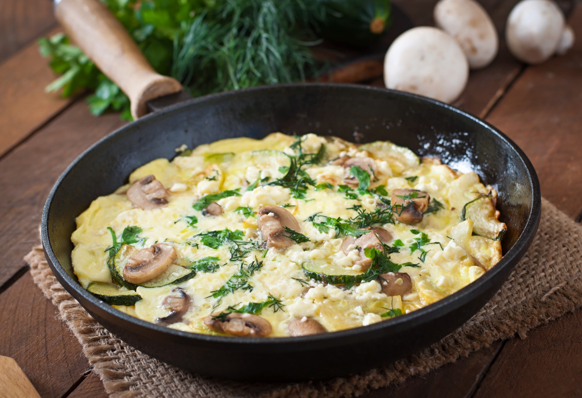 mushroom recipes - goat cheese frittata