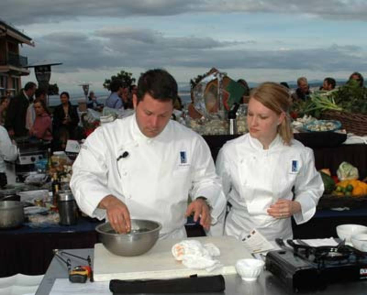 Colby and Megan Garrelts of Blustem Kansas City, Missouri compete in the Sustainable Seafood Challenge