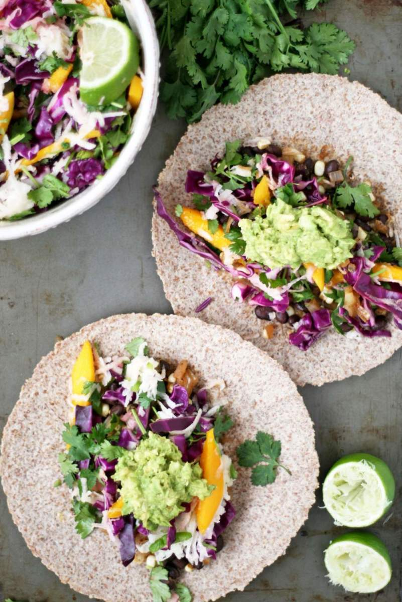 Spicy Black Bean Tacos with Jicama Mango Slaw