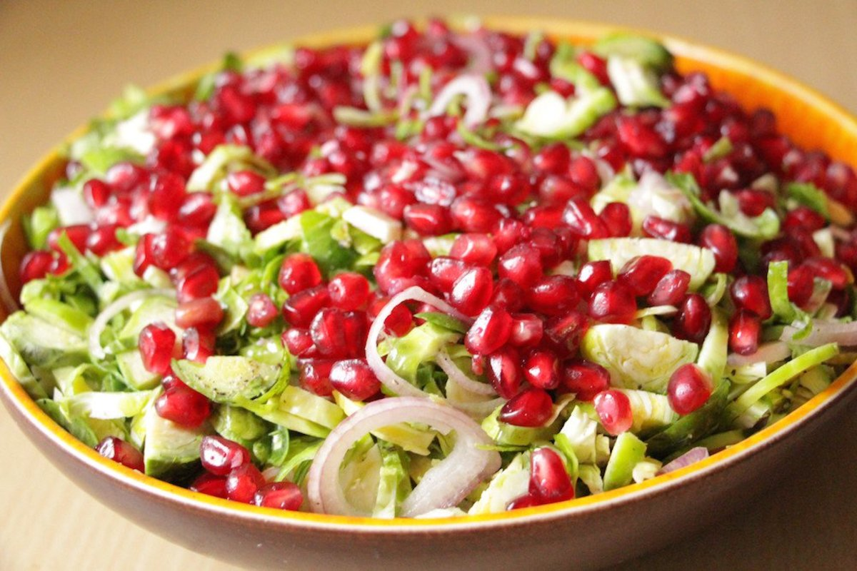 Brussels Sprouts Salad with Pomegranate: A Raw, Colorful Delight