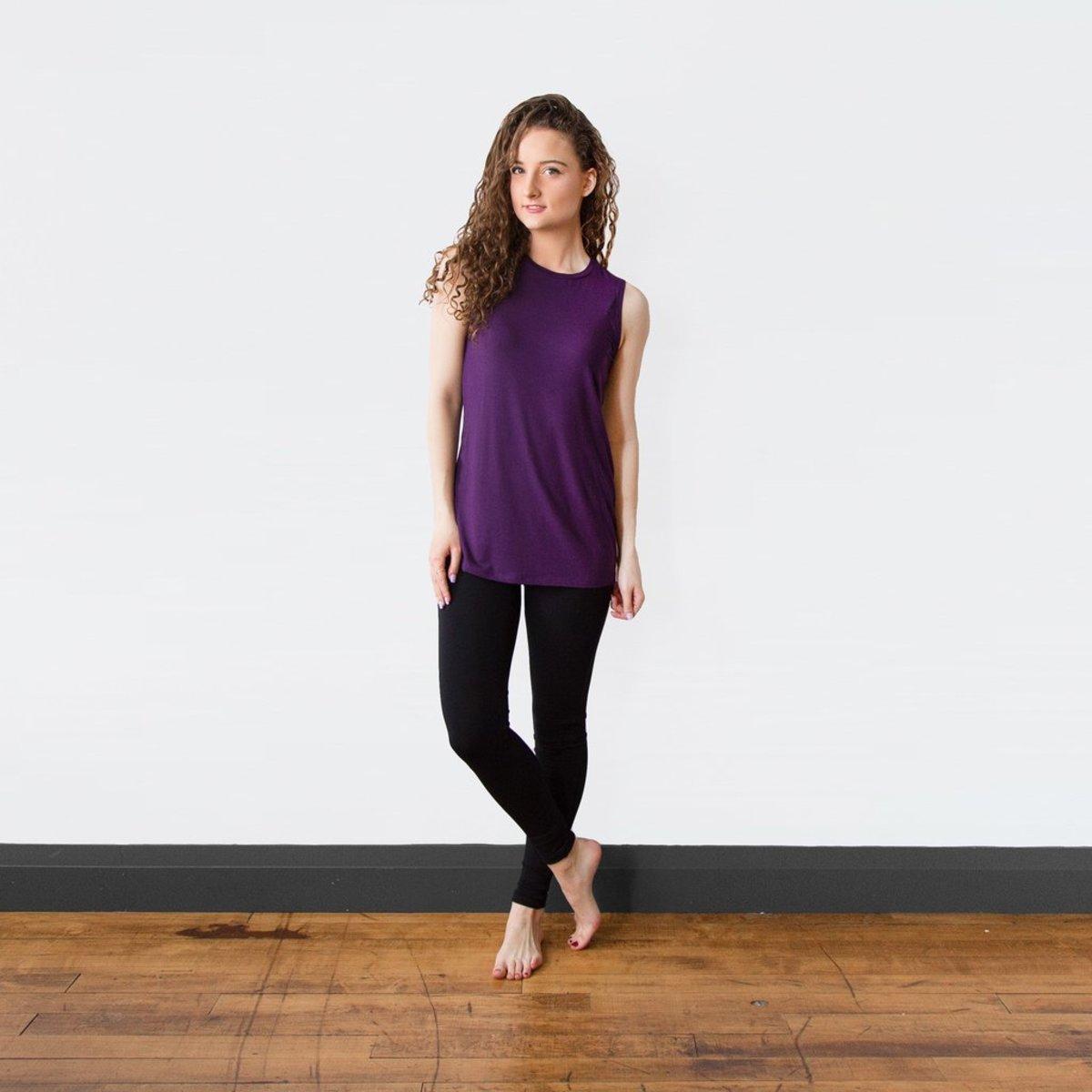 Sustainable yoga wear leggings.