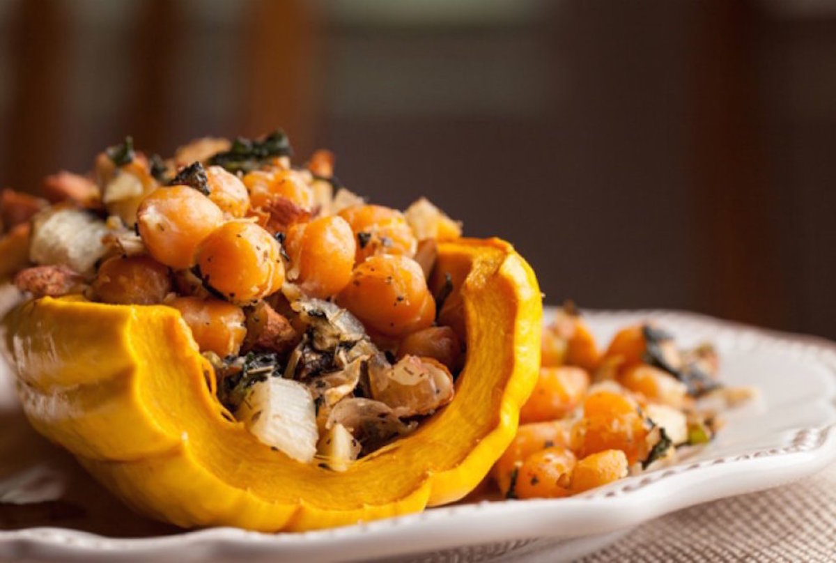 vegetarian chickpea recipes - stuffed squash
