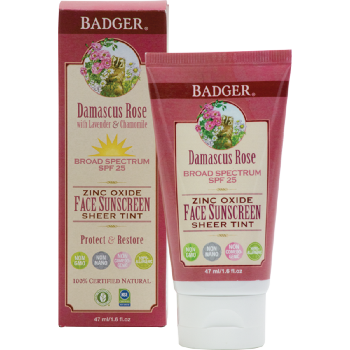 Badger Damascus Rose SPF 25 Sheer Tint Face Sunscreen Lotion