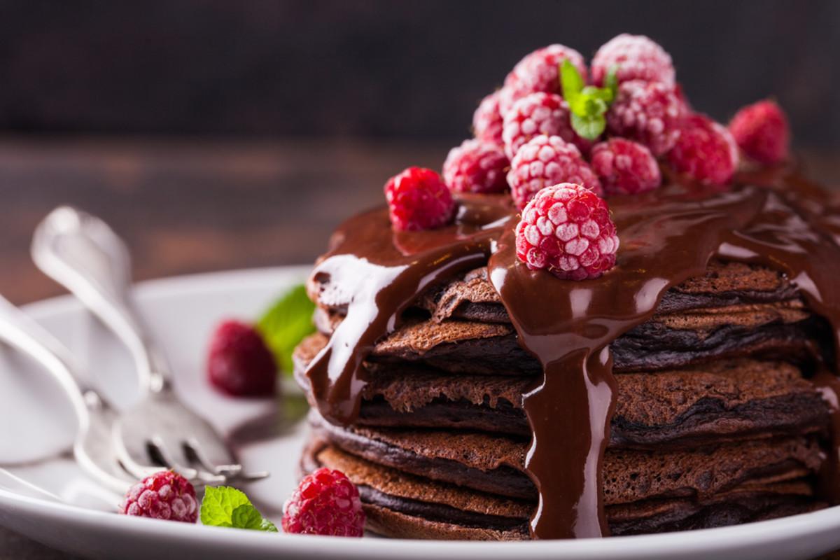 Gluten-free vegan chocolate pancakes recipe