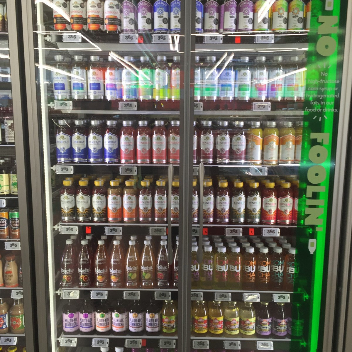 Of course there's a wall of kombucha.
