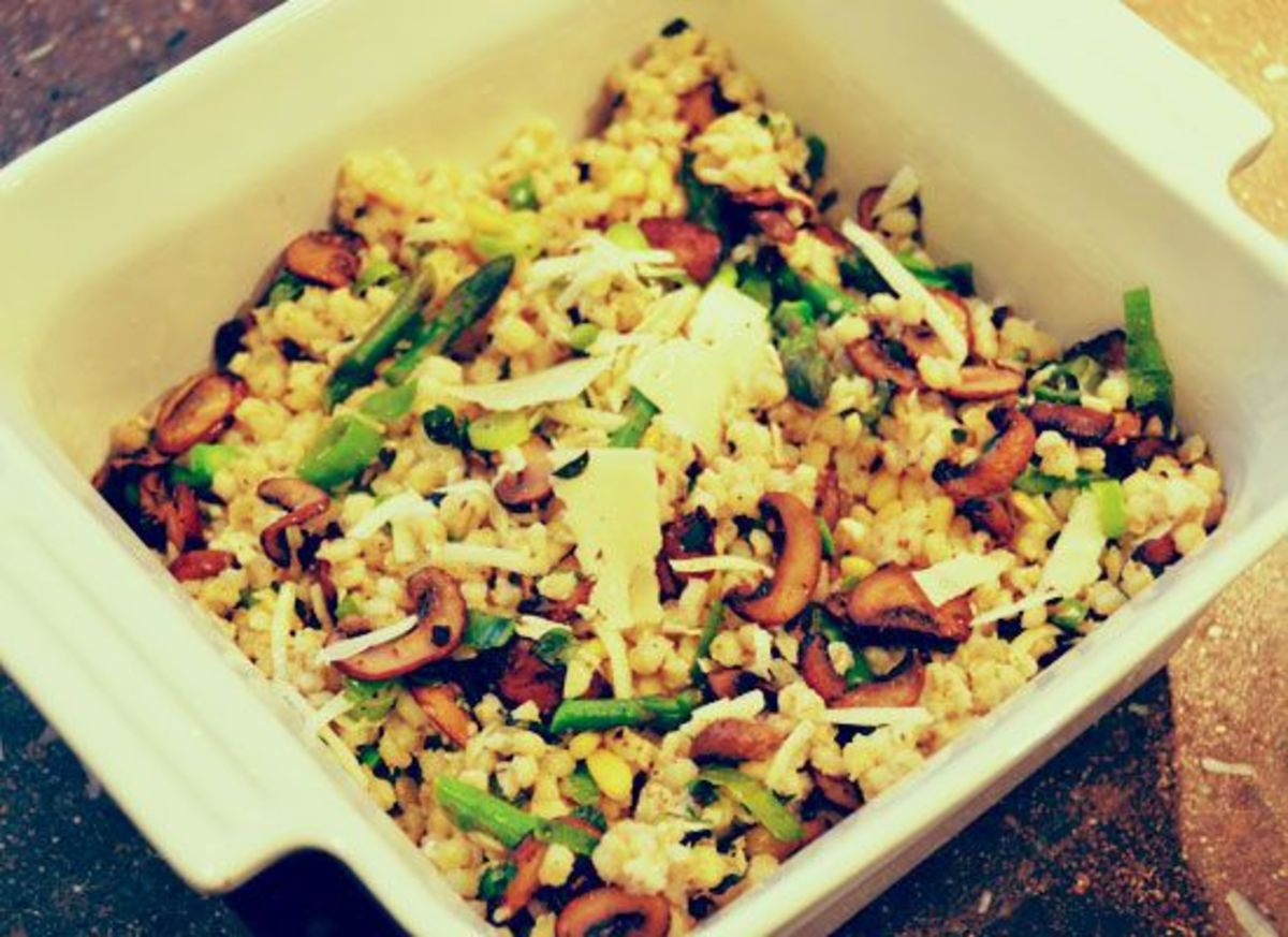 Mushroom Asparagus Barley risotto