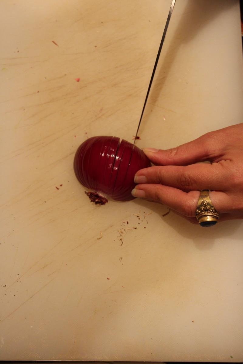 chopping onion
