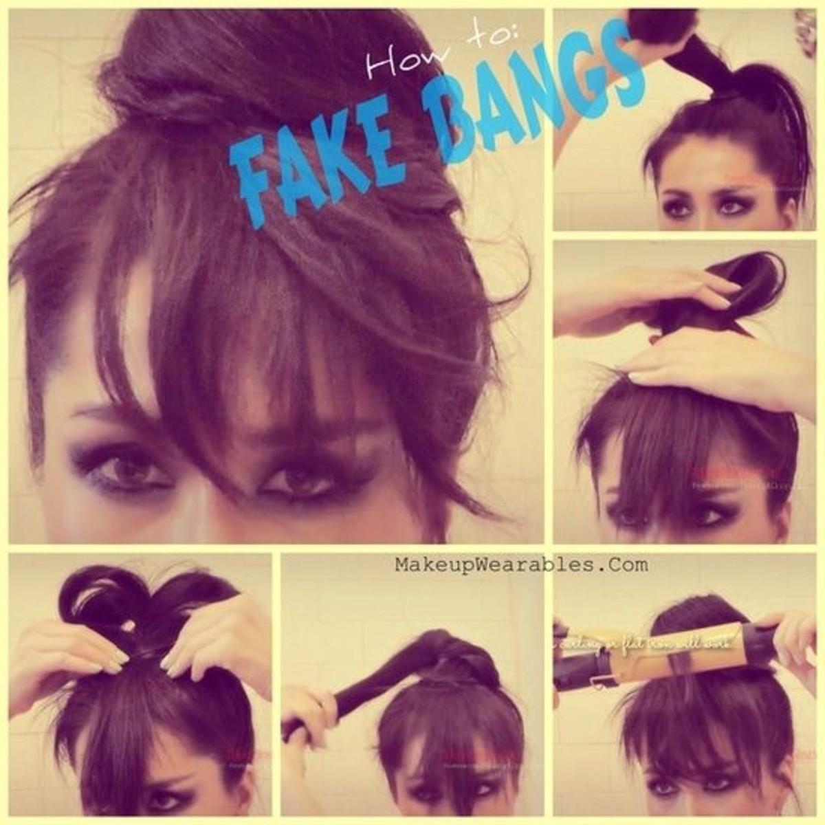fake bangs hair hacks