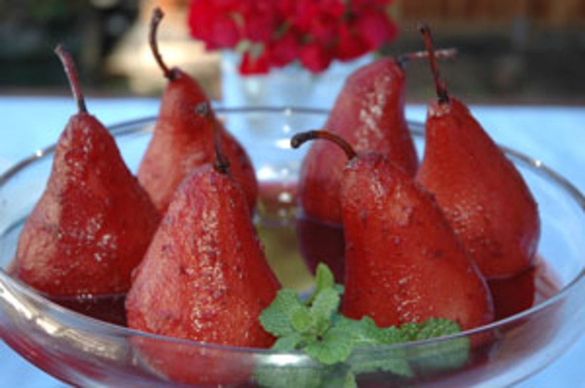 Poached Organic Pears in Port Wine Sauce