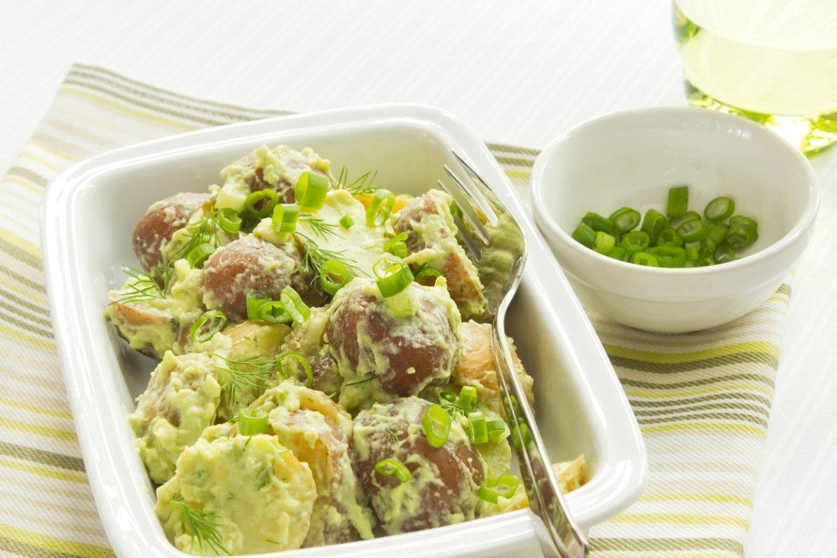 Vegan Potato Salad with Pea Purée and Mint Pesto