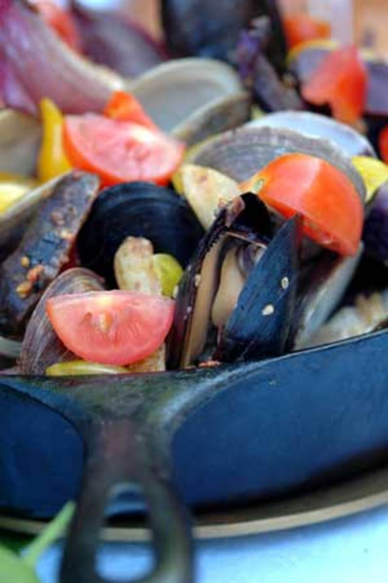 Cast-Iron Roasted Mussels and Clams