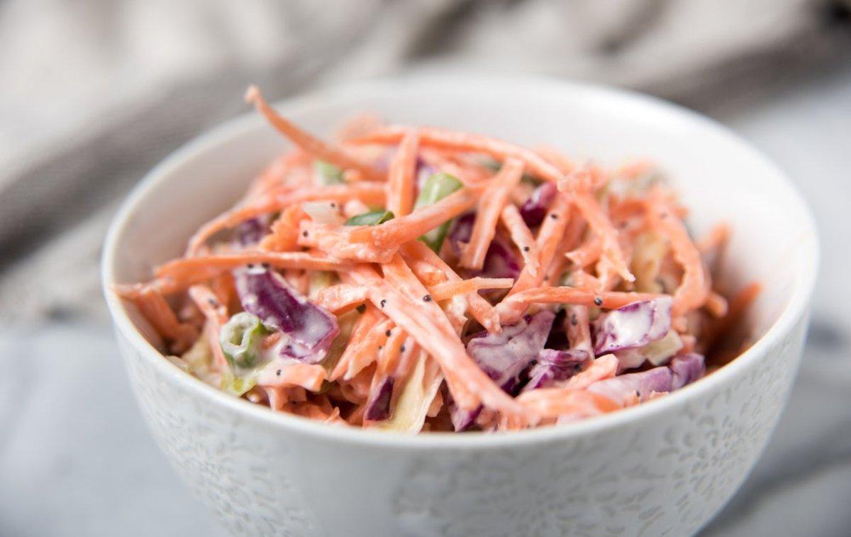 Vegan Coleslaw Recipe with Tahini-Ginger Dressing