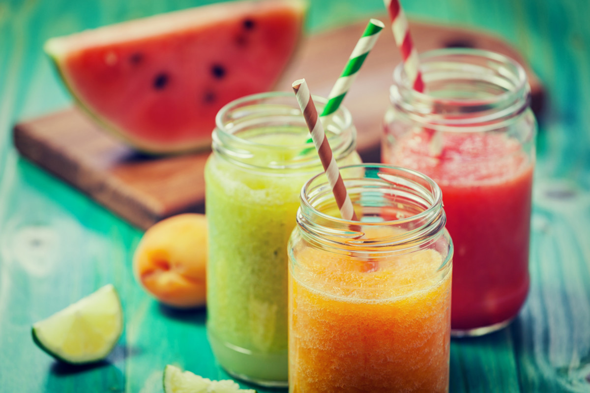watermelon, honeydew, and cantaloupe smoothie