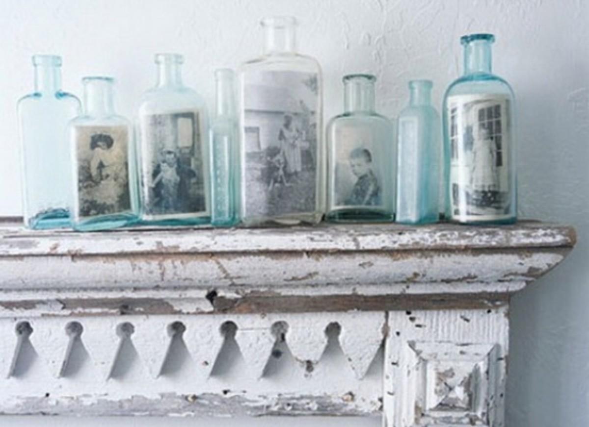 vintage bottle photo frames