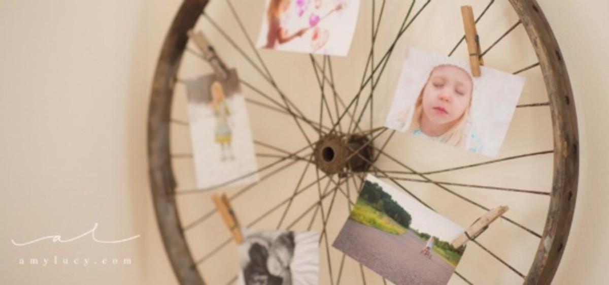 bike wheel photo display