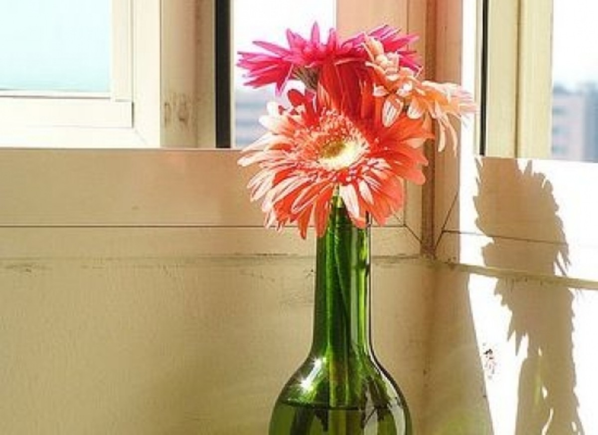 Wine Bottle with Flowers