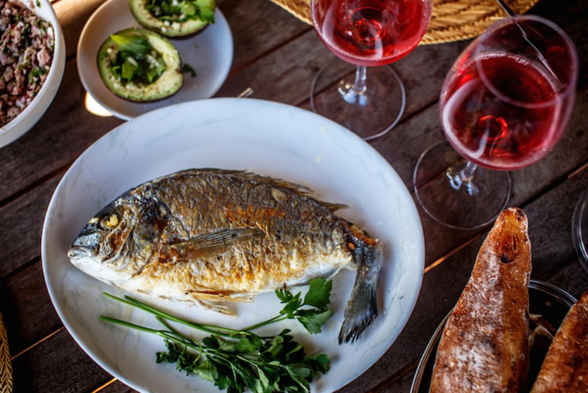 fish and wine
