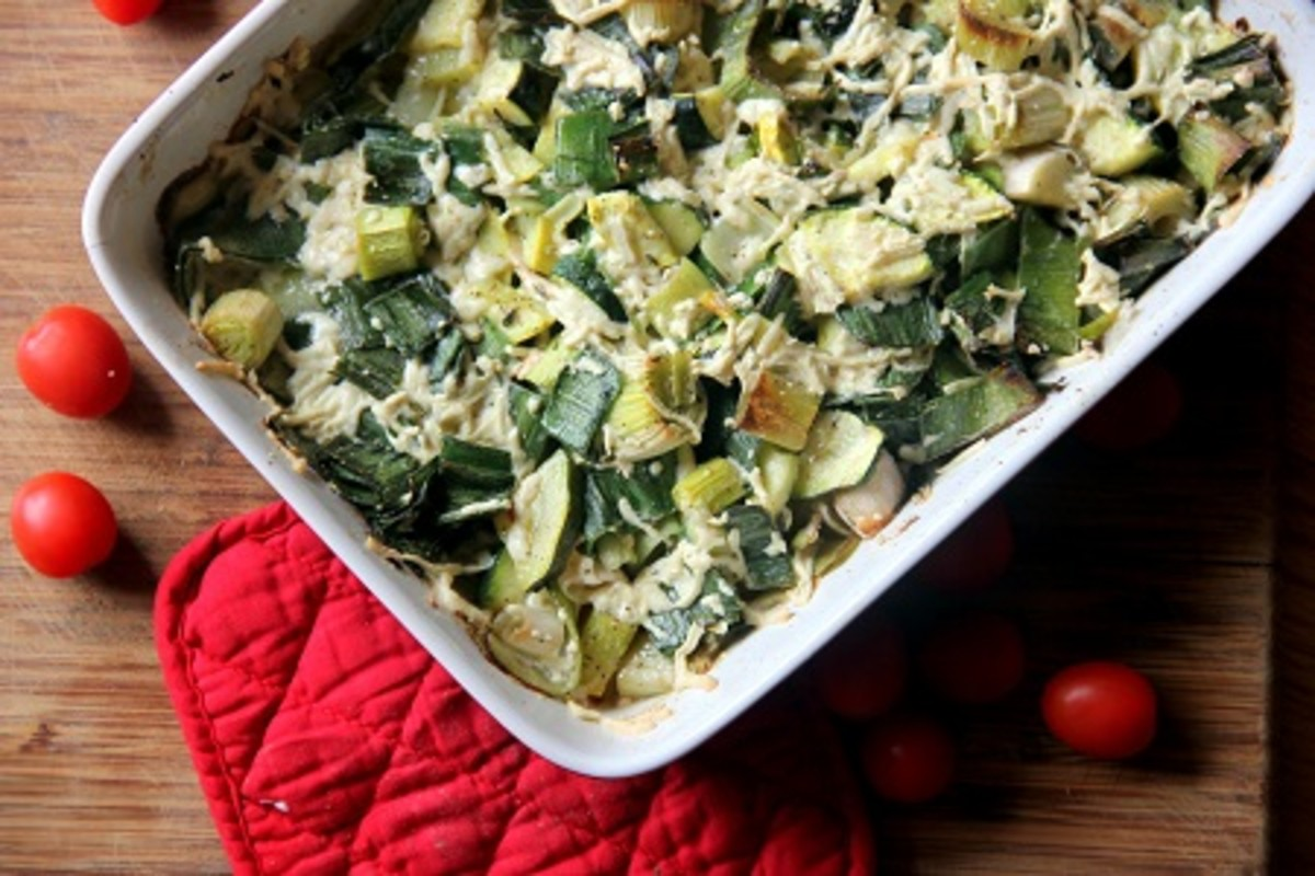 leek and zucchini gratin