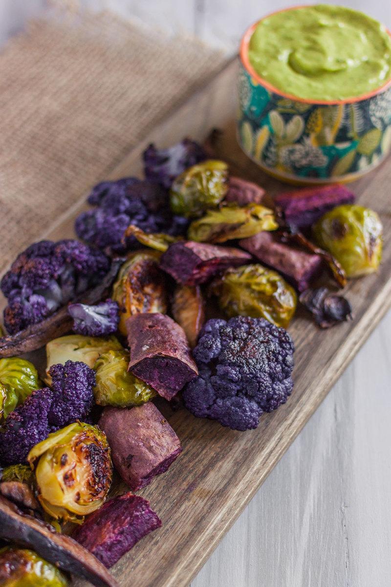 Vegan Appetizer: Roasted Vegetables with Green Goddess Dip